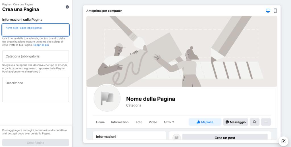 come creare e inserire nome descrizione e categoria sulla pagina facebook